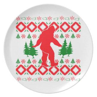 Ugly Xmas Bigfoot Plate