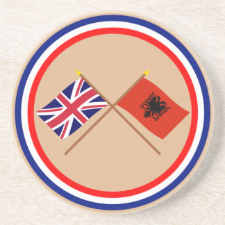 UK and Albania Crossed Flags Drink Coasters