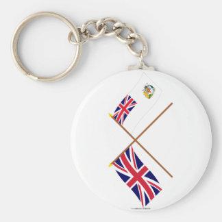 UK and British Antarctic Territory Crossed Flags Basic Round Button Keychain