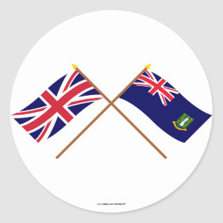 UK and British Virgin Islands Crossed Flags Classic Round Sticker