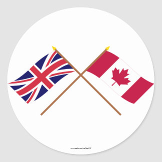 UK and Canada Crossed Flags Round Sticker