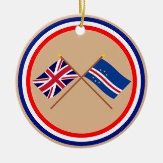 UK and Cape Verde Crossed Flags Double-Sided Ceramic Round Christmas Ornament