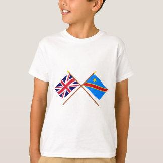 UK and Congo Democratic Republic Crossed Flags T-Shirt