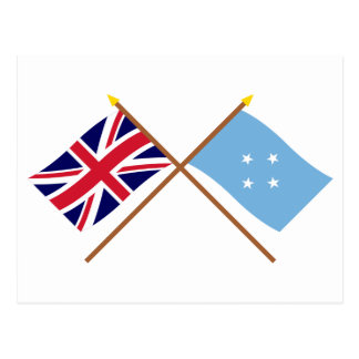 UK and Micronesia Crossed Flags Postcard