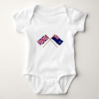 UK and Montserrat Crossed Flags Baby Bodysuit