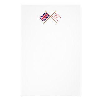 UK and North Cyprus Crossed Flags Stationery Design