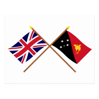 UK and Papua-New Guinea Crossed Flags Postcard