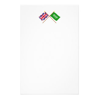 UK and Saudi Arabia Crossed Flags Stationery