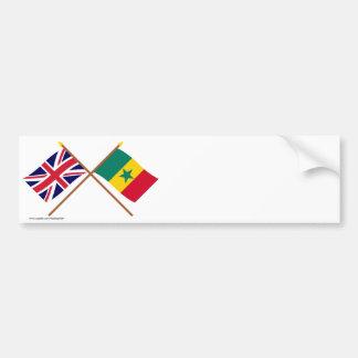 UK and Senegal Crossed Flags Bumper Sticker