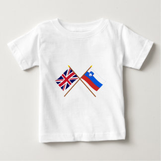 UK and Slovenia Crossed Flags Baby T-Shirt