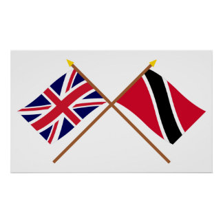 UK and Trinidad & Tobago Crossed Flags Poster