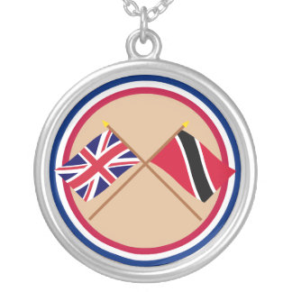 UK and Trinidad & Tobago Crossed Flags Round Pendant Necklace
