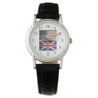 UK and US Shaded Flags Wristwatches