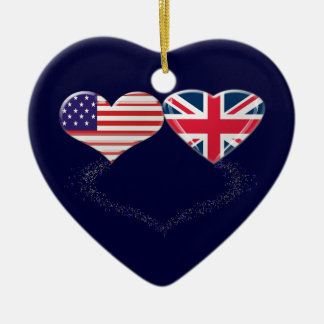 UK and USA Hearts Flag and Ticker tape Ceramic Ornament