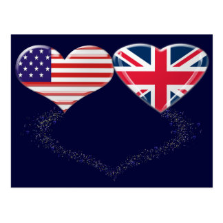 UK and USA Hearts Flag and Ticker tape Post Cards