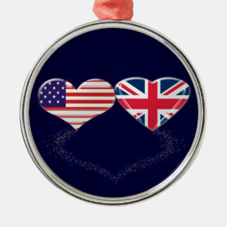 UK and USA Hearts Flag and Ticker tape Silver-Colored Round Ornament