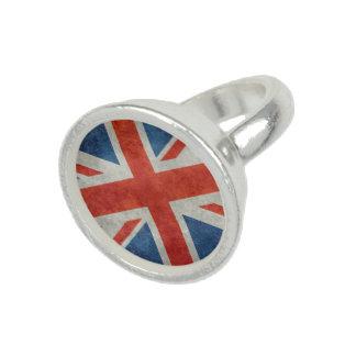 UK British Union Jack flag retro style silver ring