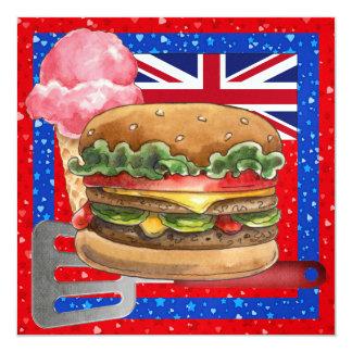 "UK Celebration BBQ! SRF 5.25"" Square Invitation Card"