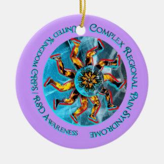 UK CRPS RSD Awareness Lavendar Peach  Christmas Or Round Ceramic Ornament