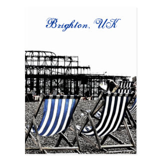 (UK) Empty Deckchairs, burnt Pier Postcard