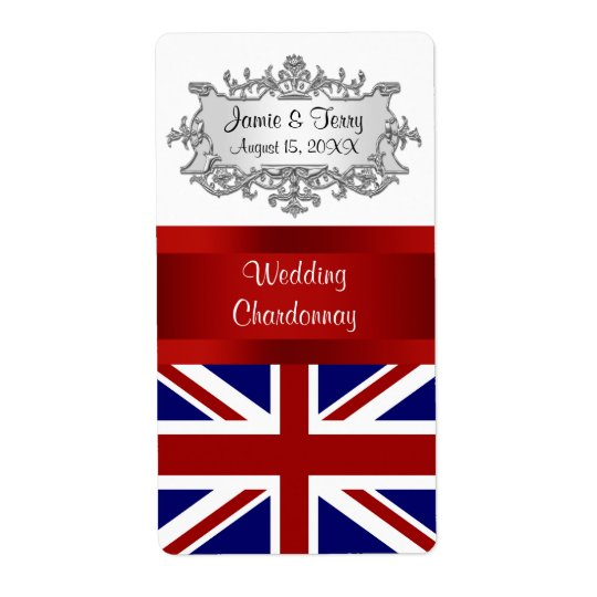 UK England Flag Event Party Wine Label