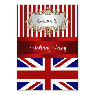 "UK England Flag Party Invitation Red White Blue V2 5"" X 7"" Invitation Card"