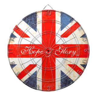 UK flag antiqued style hope & glory dart board