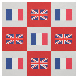 UK Flag, France Flag on Red & Lt Gray Fabric