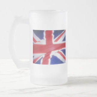 UK FLAG FROSTED GLASS BEER MUG