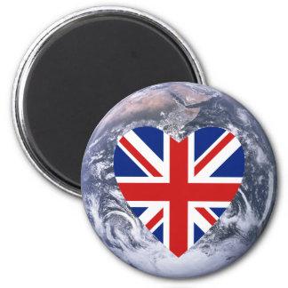 UK Flag Heart over Planet Earth Magnet
