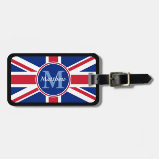 UK Flag Personalized Name and Monogram Luggage Tag
