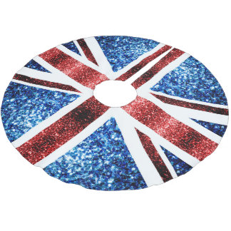 UK flag red and blue sparkles glitters Brushed Polyester Tree Skirt