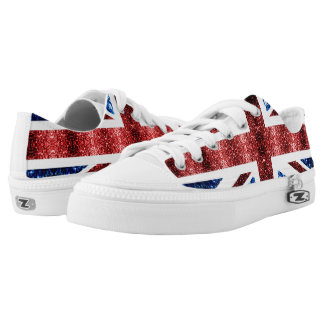 UK flag red and blue sparkles glitters Low-Top Sneakers