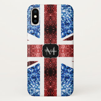 UK flag red and blue sparkles glitters Monogram Case-Mate iPhone Case