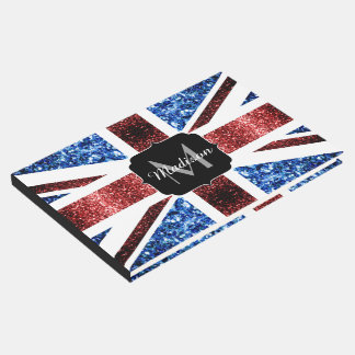 UK flag red and blue sparkles glitters Monogram Guest Book