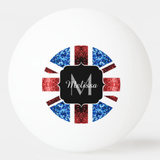 UK flag red and blue sparkles glitters Monogram Ping-Pong Ball