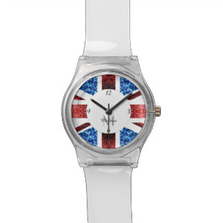 UK flag red and blue sparkles glitters Monogram Watch
