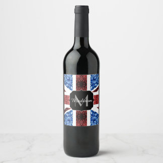 UK flag red and blue sparkles glitters Monogram Wine Label