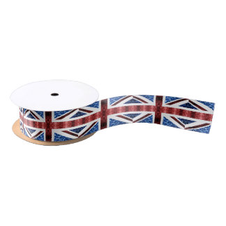 UK flag red and blue sparkles glitters Satin Ribbon