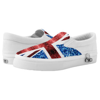 UK flag red and blue sparkles glitters Slip-On Sneakers