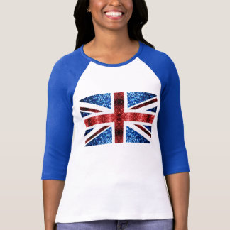 UK flag red and blue sparkles glitters T-Shirt