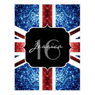 UK flag red blue sparkles glitters Sweet 16 Postcard
