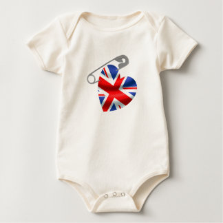 UK Flag Safety Pin Baby Bodysuit