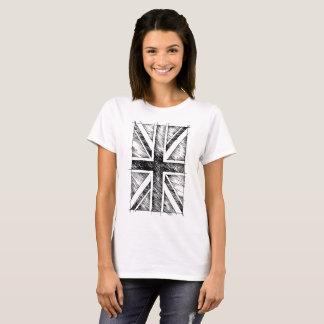 UK Flag, Sketchy Line, Monochromatic T-Shirt