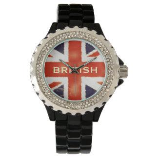UK Flag Union Jack Custom Black Enamel Watch