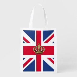 UK Flag with Royal Crown Reusable Grocery Bag