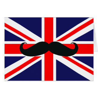 UK Great Britain Flag with Mustache Christmas Card
