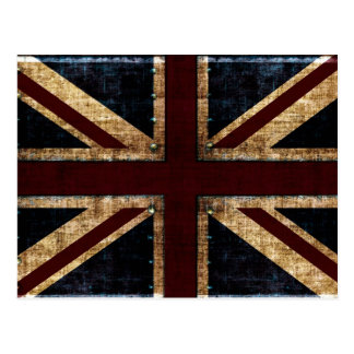 Uk grunge flag postcard