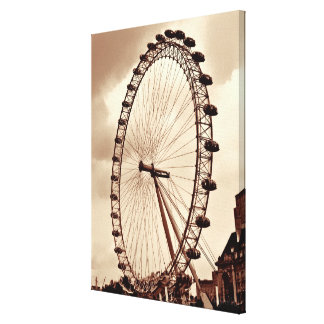 (UK) London Eye Vintage Wrapped Canvas