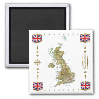 UK Map + Flags Magnet